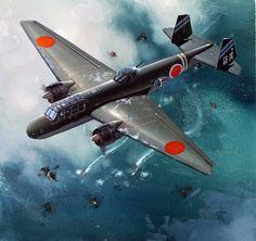 九六式陸攻: Mitsubishi G3M 'Nell' attack aircraft of the Imperial Japanese Navy Air Service. Not exactly the best bomber of WWII, but the G3M is one of the best-looking twin-engine aircraft of the period. (In my opinion anyway.)