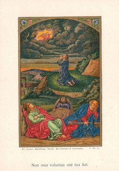 Antique Holy Card Gethsemane Pustet Cincinnati Ohio New York Goldprint 1850