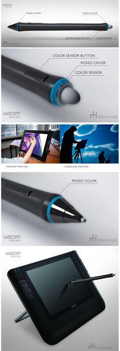 """WACOM REALISM – uma caneta com muitas habilidades especiais. Essa caneta, além de ser capaz  de instantaneamente """"scannear"""" qualquer cor existente e transpô-la para uma tela ou aplicativo de escrita, tem a capacidade de capturar o calor da mão humana e convertê-lo em energia para manter a caneta funcionando. Além disso, ela vem equipada com um software simples que te permite desenhar com facilidade, retratos ou paisagens de forma realista."""