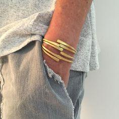 Bracelet Set, Mix & Match Bracelets, Stacking Bracelets, Open Bracelet, Brass Bracelets, Women Brass Jewelry, Boho Jewelry, Wrap Bracelets by MannShiran on Etsy