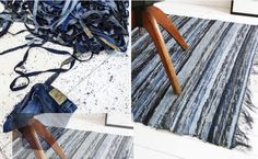 A recycled denim rug is made from an Eco-conscious Swedish Denim brand, Nudie Jeans. The rug is made from old worn out Nudie Jeans denims donated from organic denim supplier Bossa in Turkey. Old jeans are individually cut into serrated strips of denim, sewn together and rolled onto spools. From here the strips are hand woven using a vintage manual shuttle loom.