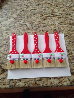 pinterest crafts paintbrush ornaments | Santa paint brush ornaments