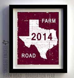 Texas Aggies - Texas Farm Road Sign with customizable graduation year.