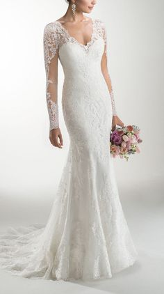 One of our favorite styles by Melanie Marie with long sleeves in lace and illusion. Plain Wedding Dress, Wedding Dress With Pockets, Wedding Dress Sleeves, Dream Wedding Dresses, Bridal Dresses, Wedding Gowns, Wedding Veil, Wedding Decor, Wedding Shoes
