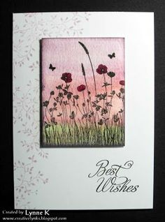 """By Sally Holmes. Background colored with Distress Stains, then overstamped in VersaFine using """"Poppy Lea"""" stamp by Inkylicious. Love the stamping down the left side of the card base! She used """"Delicate Vines"""" by Inkylicious."""
