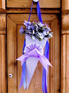 Striped-Paper Cone #tutorial #crafts #party_cone   use for front door knob with pretty Spring flowers ~!~