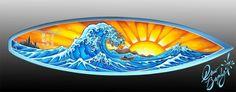 The Great Wave of Kanagawa Drew Brophy Surfboard Art May 2012
