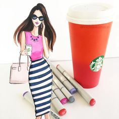 """Filling up a virtual coffee cup for those whose hustle doesn't stop at 5 #maythecaffienebewithyou #fashionsketch #fashionillustrator…"""
