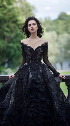 wedding beauty dresses Unique vintage black lave deep V neck lace wedding dress, fall or winter wedding. Unique vintage black lave deep V neck lace wedding dress, fall or winter wedding ideas Black Wedding Gowns, Fall Wedding Dresses, Prom Dresses, Lace Wedding, Gown Wedding, Wedding Unique, Wedding Beauty, Black Ball Gowns, Black Quinceanera Dresses