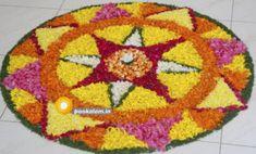 Onam Pookalam Design Onam Greetings, Onam Pookalam Design, Onam Wishes, Onam Festival, Happy Onam, New Rangoli Designs, Kinds Of Colors, Floor Art, Types Of Flowers