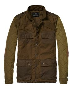 Military Jacket In Waxed Cotton With Quilted Sleeves - Scotch & Soda