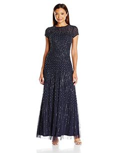 Adrianna Papell Womens Fully Beaded Gown With Short Sleeves And Pearl Beading Navy 12 Petite