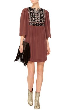Rosewood Ren Silk Tunic Dress  by Isabel Marant Now Available on Moda Operandi