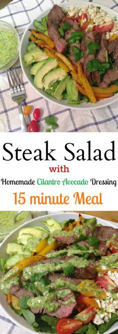 This Low-Carb Steak Salad with Homemade Cilantro Avocado Dressing makes for a great weeknight healthy dinner. It only takes 15 minutes to put together.