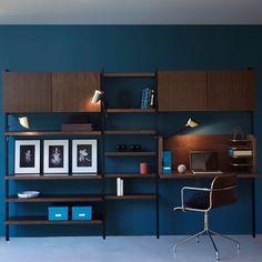 Image Pack of 8 Brackets for Taktik Storage System AM. Home Office Design, House Design, Muebles Home, Bookshelf Desk, Bookshelves, Danish Interior, Room Interior, Interior Design, Simple Furniture
