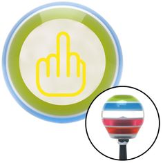 Yellow Smooth Middle Finger Stripe Shift Knob with M16 x 15 Insert