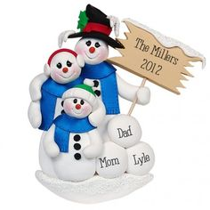Snowman Family of 3 Personalized Ornament. This ornament and many more can be found at https://www.ornaments.com