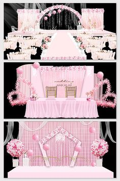 Modern beautiful pink wedding stage renderings#pikbest#decors-models Wedding Stage Design, Stage Background, European Wedding, Wedding Logos, 3d Models, Red Fashion, New Model, Business Card Logo, Sign Design