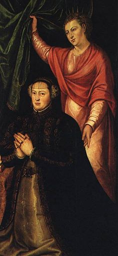 1555 Catherine of Austria with her namesake, St. Catherine of Alexandria by Cristóvão Lopes (Museu Nacional de Arte Antiga - Lisboa, Portugal) Catherine Of Alexandria, Catherine Of Aragon, Portugal, Joanna Of Castile, Austria, Portuguese Royal Family, Spanish Netherlands, Wives Of Henry Viii, Lady In Waiting