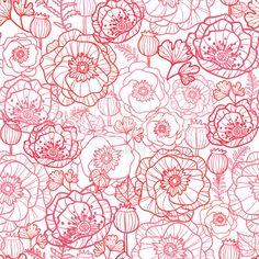 Poppies ラインアートのシームレスなパターン背景 ロイヤリティフリーストックのベクターアート                                                                                                                                                                                 もっと見る