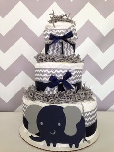 Chevron Elephant Diaper Cake in Navy and Gray by AllDiaperCakes