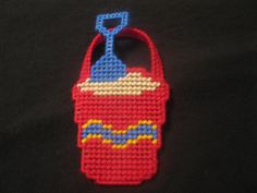 Plastic Canvas Sand Pail Magnet by FunksHomemadeCrafts on Etsy