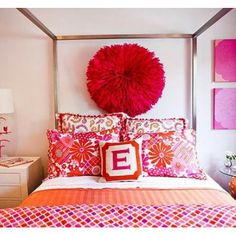 Love this red wall pouf!