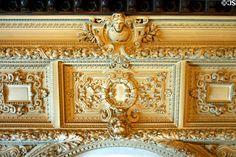 Ceiling plasterwork detail in Vanderbilt Mansion. Hyde Park, NY.