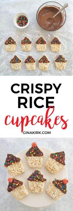 Rice krispie cupcake treat   Crispy rice party  dessert   Birthday desserts   Chocolate treat recipe   Birthday treat idea   GinaKirk.com