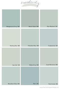 Benjamin Moore Wedgewood Gray: Color Spotlight Comparing popular blue, gray and green paint colors.<br> Benjamin Moore Wedgewood Gray is one of the most popular paint colors out there today. We're highlighting why this beautiful color works so well. Bathroom Paint Colors, Interior Paint Colors, Paint Colors For Home, Coastal Paint Colors, Coastal Color Palettes, Benjamin Moore Wedgewood Gray, Benjamin Moore Blue, Benjamin Moore Beach Glass, Blue Gray Paint Colors