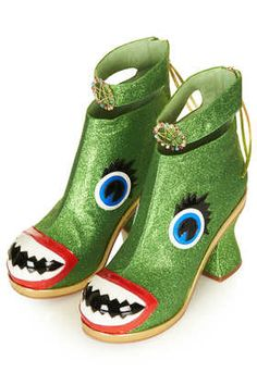 **Green Glitter Face Boots by Meadham Kirchhoff