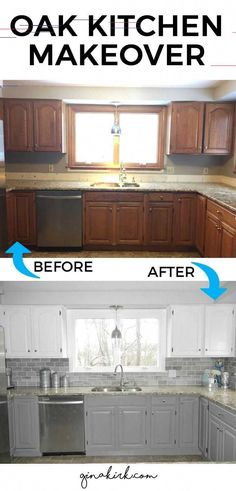 Dream Kitchen Decor This has been a long time coming so excited to share our oak kitchen makeover! Dream Kitchen Decor This has been a long time coming so excited to share our oak kitchen makeover! Oak Kitchen Cabinets, Kitchen Paint, Kitchen Countertops, White Cabinets, Kitchen Backsplash, Backsplash Ideas, Granite Kitchen, Upper Cabinets, Faux Granite