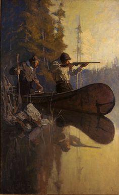 N. C. Wyeth (1882-1945) title unknown (moose hunters) ca. 1911 Oil on canvas, 40 1/8 x 25 1/8 in. (101.9 x 63.8 cm)