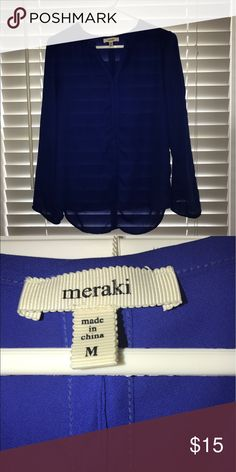 😍BOGO 1/2 OFF NWOT Royal Blue Meraki Top Never worn - Sheer Meraki Tops Blouses