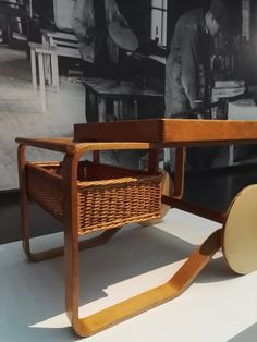ALVAR AALTO, Tea Trolley model No.900, Finland, 1937. Material birch, laminated birch, rattan and glazed tile. Image by Scandinavian Collectors 2017, from the exhibition Alvar Aalto - Art and The Modern Form, Ateneum, Helsinki, Finland.