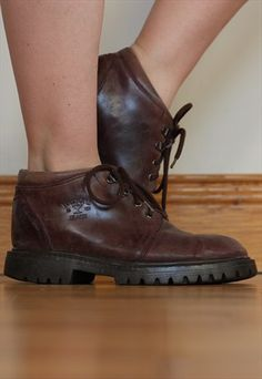Vintage 90's Leather Lace Up Grunge Work Boots