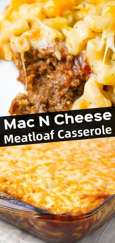 Mac and Cheese Meatloaf Casserole is a hearty dinner recipe with a ground beef meatloaf base with macaroni and cheese baked on top. dinner recipes with ground beef Mac and Cheese Meatloaf Casserole - This is Not Diet Food Beef Casserole Recipes, Casserole Dishes, Meat Recipes, Cooking Recipes, Meatloaf Recipes, Macaroni And Cheese Casserole, Ground Beef Casserole, Kitchen Recipes, Recipes With Hamburger