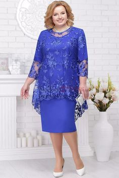 Knee-Length Mother of the bride dresses Royal Blue plus size.- Knee-Length Mother of the bride dresses Royal Blue plus size women's outfits… – - Mother Of Bride Outfits, Mother Of Groom Dresses, Mothers Dresses, Mother Of The Bride Dresses Plus Size, Royal Blue Dresses, Blue Wedding Dresses, Plus Size Cocktail Dresses, Plus Size Dresses, Chiffon Dress