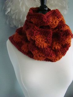 Scarf  Rust and Orange Catherine Wheel Circles Hand by AuntieDawn, $40.00