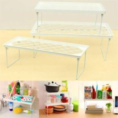 Description : 	Plastic Foldable Storage Racks Home Bathroom Kitchen Shelving Shelf Holders Organizer  		Perfect for the office, kitchen, laundry, and the bathroom.  		Very easy to clean, simply wipe off to preserve the extra clean look .  		Durable plastic construction is very sturdy and will...