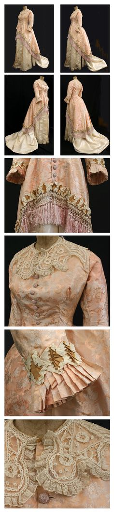 Silk brocade/satin two-piece gown, ca. via Vintage Textile. 1880s Fashion, Edwardian Fashion, Vintage Fashion, Historical Costume, Historical Clothing, Historical Dress, Vintage Gowns, Vintage Outfits, Two Piece Gown