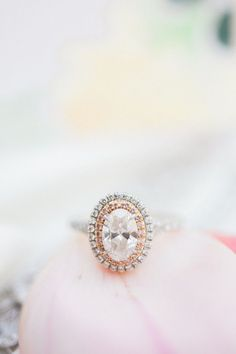 Engagement Rings : Oval cut double halo silver + rose gold engagement ring: www. Two Tone Engagement Rings, Rose Gold Engagement Ring, Wedding Engagement, Wedding Jewelry, Wedding Rings, Bridal Rings, Michigan, Bling, Garden Wedding