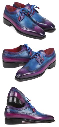 Paul Parkman Goodyear Welted Wingtip Derby Shoes Purple & Blue (ID Blue Website, Painting Leather, Derby Shoes, Goodyear Welt, Luxury Shoes, Leather Shoes, Bespoke, Casual Shoes, Men's Shoes