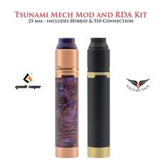 The GeekVape Tsunami Mech Kit includes a Tsunami Pro 25 RDA and a Black Ring Plus mechanical MOD. The MECH MOD features interchangeable between 510 mode and hyb