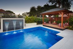 Majestic swimming pool with water feature