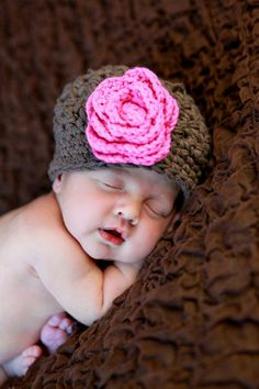 Brown Baby Girl Hat, Newborn Baby Hat, Crochet Baby Beanie, Brown, Pink, Cotton, 0 to 3 Months. $24.00,  so cute!!! via Etsy.