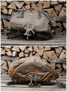 Swiss Alpine rucksack, the top and bottom photo show you the inner shoot with leather straps and cord that would hold a soldiers pick-axe and hiking sticks. Such a handy feature. Swiss Army Backpack, Pick Axe, Fishing Backpack, Vintage Backpacks, Olive Green Color, Leather Conditioner, Saddle Leather, Soldiers, 1940s