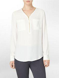 calvin klein exposed zip front roll-up sleeve blouse