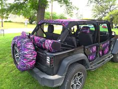 Muddy Girl Jeep! Awesome for summer!  I'll skip the Muddy Girl tire cover but like the soft top and doors. JeepTopsUSA full line of Muddy Girl accessories for the Jeep Wrangler JKU. www.jeeptopsusa.com