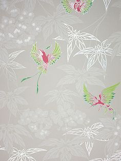 Osborne Little Tapete GROVE GARDEN 4 tara wallpaper album 5 Vögel rot grün auf grau silber